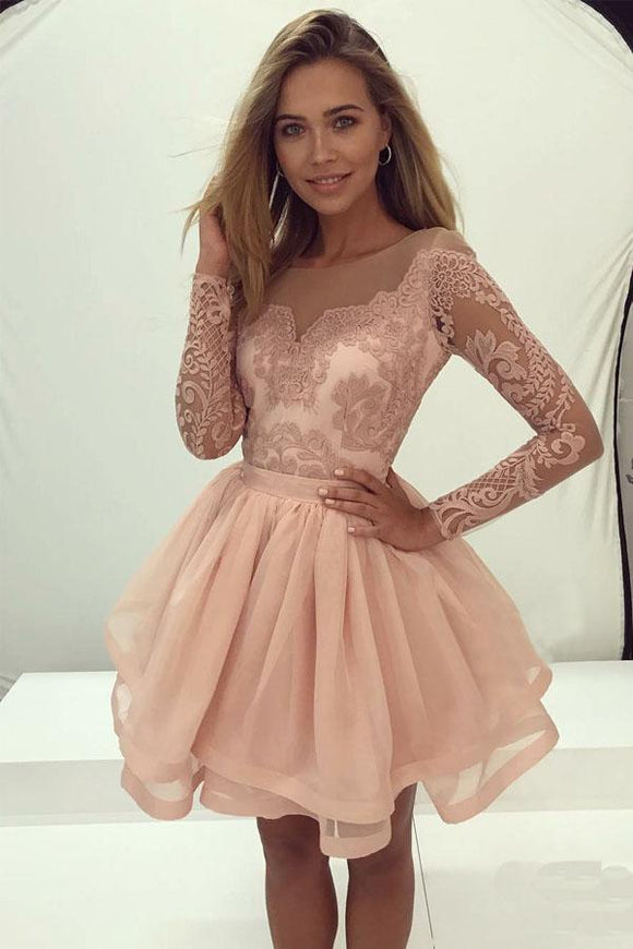 Anneprom Long Sleeve Lace Homecoming Dress Tulle Zipper Back Party Dress APH0033
