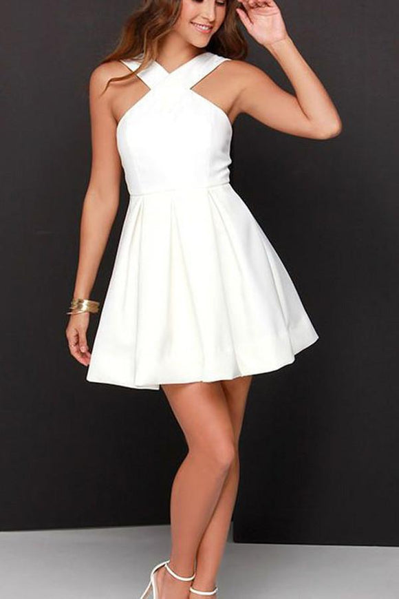 Anneprom A-Line Chiffon Satin White Short Prom Dress Homecoming Dress APH0037