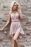 Anneprom Deep V-Neck Criss-Cross Straps Short Blush Satin Homecoming Dress APH0038