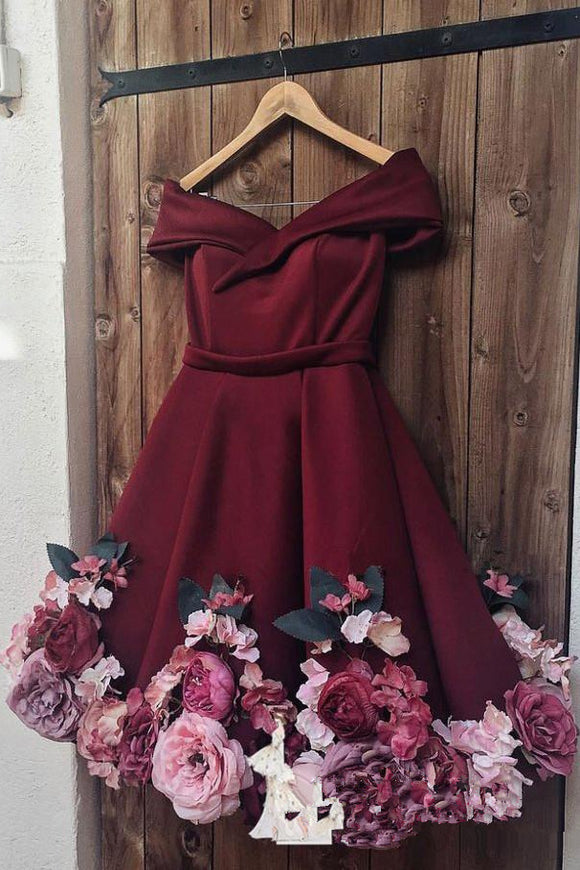 Anneprom A-Line Off-the-shoulder Burgundy Juniors Homecoming Dress Floral Short/Mini Prom Dresses APH0040