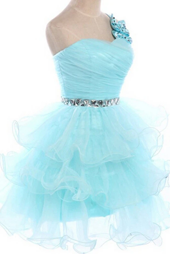Anneprom prom dresses short,Blue A-line One Shoulder Short Mini Organza Homecoming Dress Short Prom Dresses APH0043