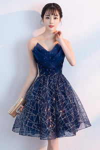 Anneprom Navy Blue A Line Strapless Sequined Short Homecoming Dresses APH0054