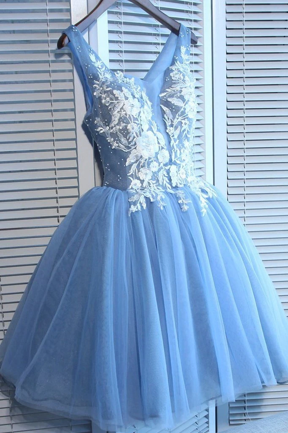 Anneprom Blue Tulle A Line Lace Appliques Short Homecoming Dresses APH0055
