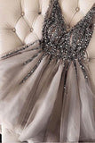 Anneprom Luxurious Sequins Beaded V-neck Tulle Short Gray Homecoming Dresses APH0059
