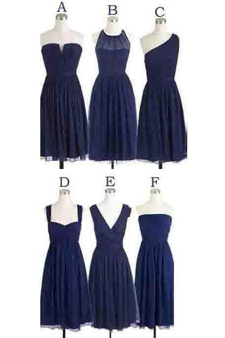 Anneprom Simple Cheap Short Navy Blue Chiffon Sleeveless Bridesmaid Dress APH0061