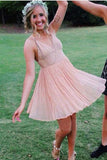 Charming V Neck A Line Blush Chiffon Straps Homecoming Dresses APH0067