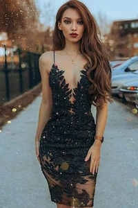 Anneprom Sheath Spaghetti Straps Black Beaded Short Prom Dress with Lace APH0068