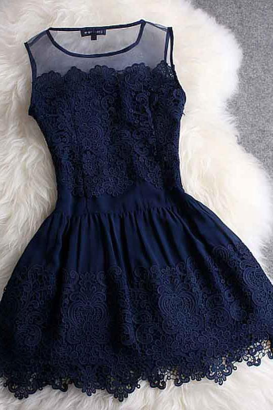 Anneprom A-line Mini Navy Blue Sleeveless Crew Short Homecoming Dresses With Lace APH0070