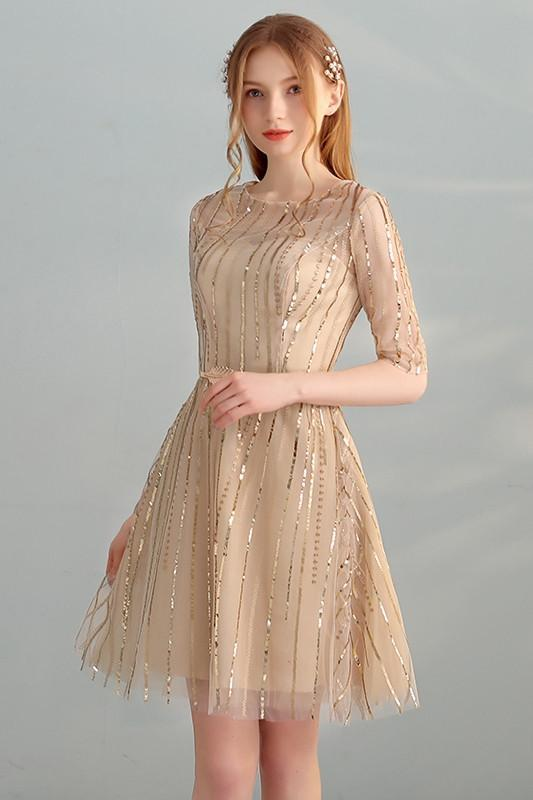 Anneprom Gold Sequins A Line Short Tulle Half Sleeves Homecoming Dresses APH0071