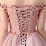 Anneprom Chic Homecoming Dresses Short Pearl Pink Off-the-shoulder Tulle Cheap Prom Dress APH0073
