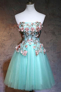 Anneprom Fashionable Tulle Short Sweetheart Mint Green Party Dress, Homecoming Dresses APH0075