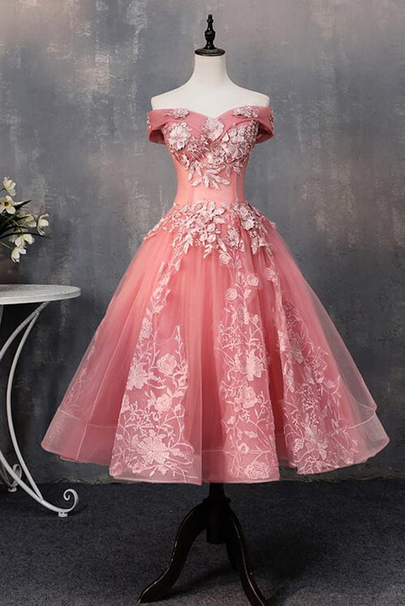 Anneprom Pink Tea Length Sweetheart Off Shoulder Prom Dress, Sweet 16 Dresses APH0077