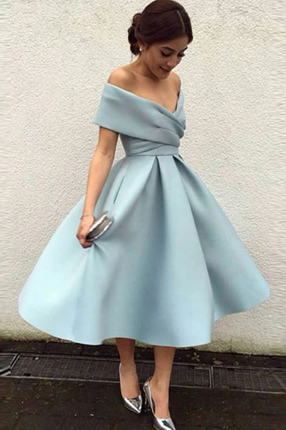 Anneprom A-line Simple Homecoming Dress Off-the-shoulder Satin Short Prom Dress APH0081