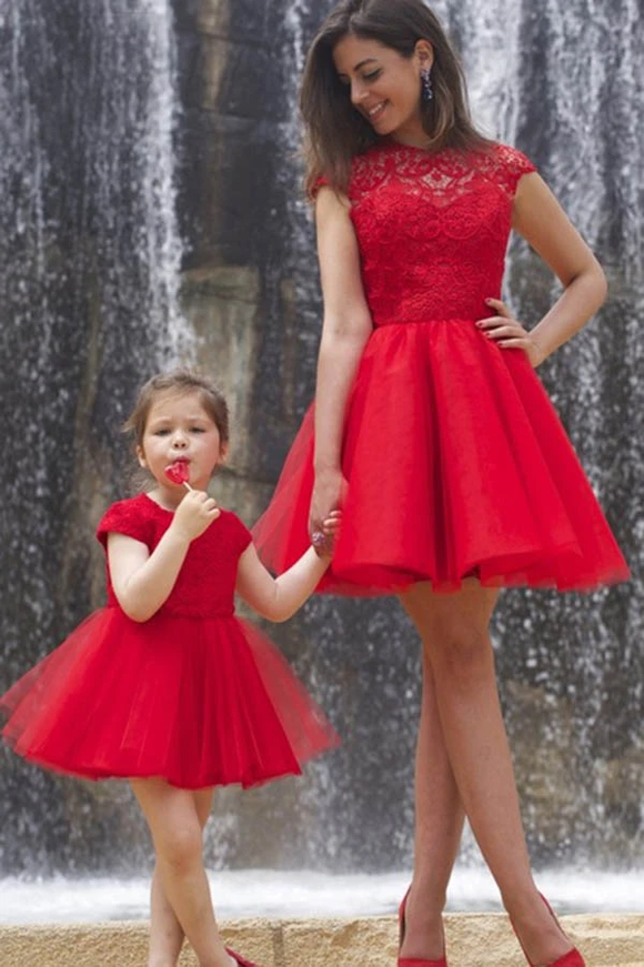 Anneprom A line Red Cap Sleeves Tulle Lace High Neck Above Knee Open Back Homecoming Dresses APH0091