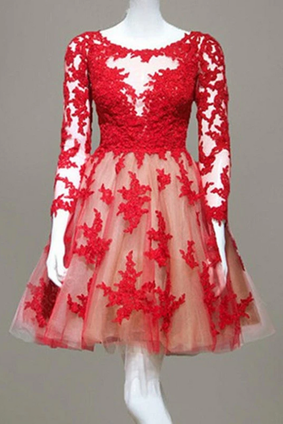 Anneprom long sleeve prom dresses,Red A-line Scoop Short Mini Tulle Homecoming Dress APH0095
