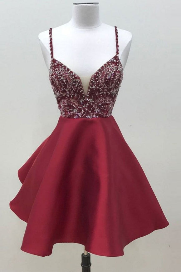 Anneprom Burgundy Homecoming Dress A-line Straps Satin Short Prom Dress APH0096