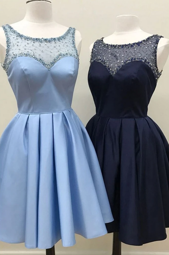 Anneprom Chic A-line Scoop Short Prom Dress Satin Blue Beading Homecoming Dress APH0100