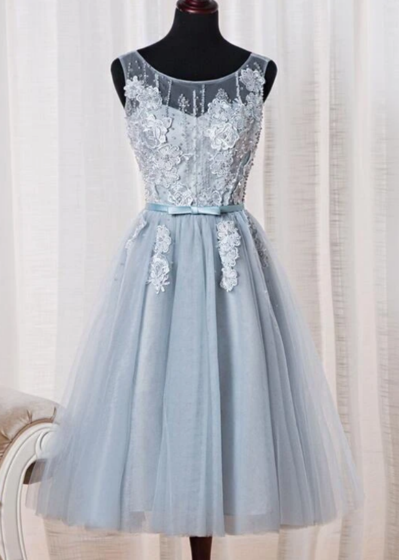 Anneprom Tulle Homecoming Dress, Cute Tea Length Party Dress APH0105