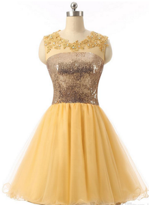 Anneprom Short Graduation Dresses Yellow Sequin Short Sexy Formal Evening Dress Custom Made APH0105
