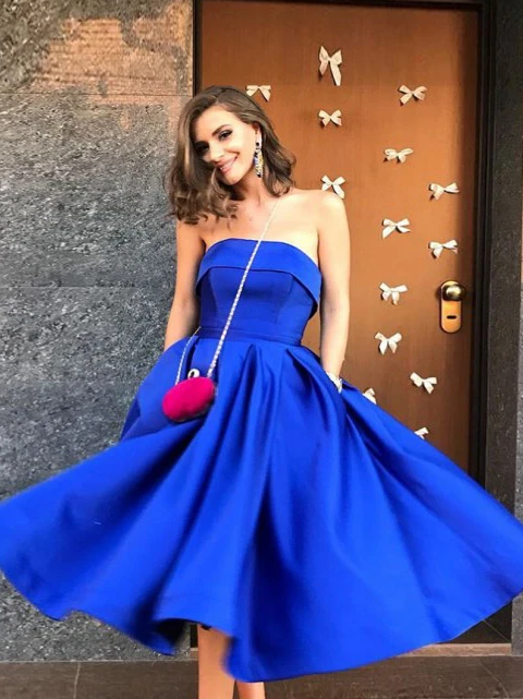 Anneprom A-Line Strapless Tea-Length Royal Blue Satin Prom Dress with Pockets APH0108