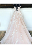 Anneprom A-Line Round Neck Yellow Tulle Lace Prom Dresses Formal Dresses APP0001