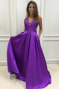 Anneprom Simple V-Neck Sweep Train Grape Satin Prom Dresses Evening Dresses APP0231