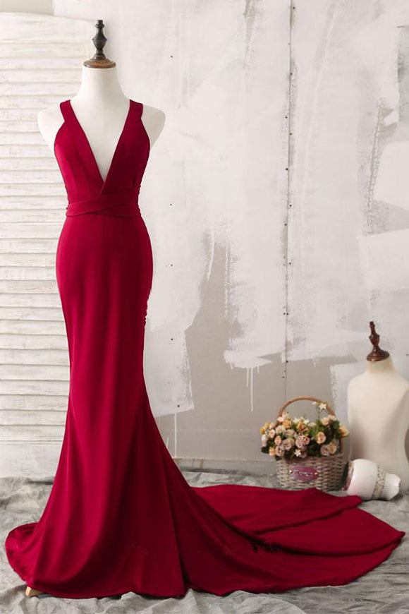 Anneprom Elegant Red Mermaid Plunging V-Neck Prom Evening Dresses APP0243
