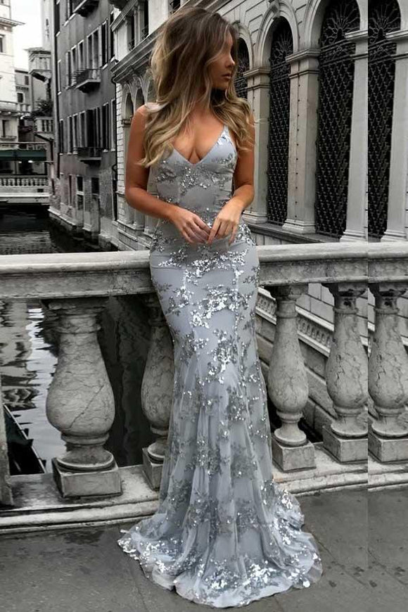 Anneprom Mermaid Deep V-Neck Sweep Train Grey Tulle Prom Dress APP0245