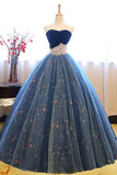 Anneprom Ball Gown Sweetheart Navy Blue Lace Prom Dress With Beading APP0247
