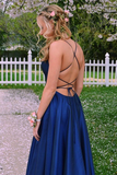 Anneprom Scoop Split Side Royal Blue Criss-Cross Straps Satin Prom Dress APP0248
