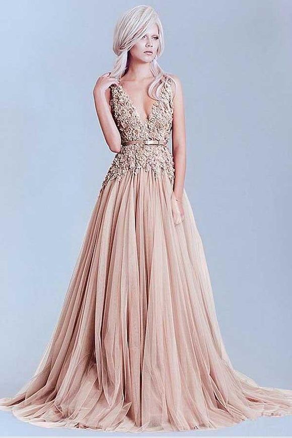 Anneprom Charming Tulle V-Neck A-Line Evening Dresses With Lace Appliques APP0250
