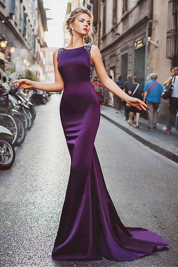 Anneprom Neckline Satin Purple Mermaid Evening Dresses With Beadings APP0251
