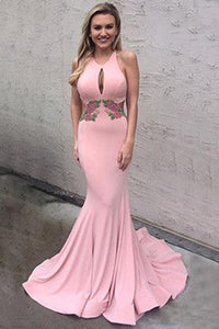 Anneprom Pink Memaid Open Back Prom Dresses, Cheap Backless Prom Dresses APP0256