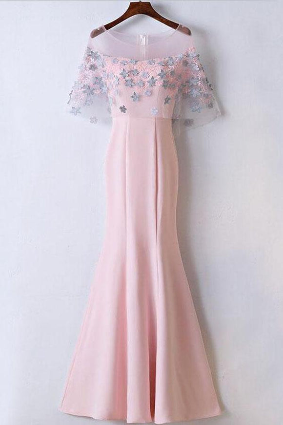 Anneprom Mermaid Floor Length Affordable Pink Prom Dresses Party Dresses APP0259