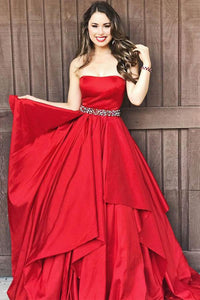 Anneprom Strapless Red A-Line Taffeta Long Prom Dresses With Beaded APP0263