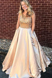 Anneprom A-Line Scoop Floor-Length Satin Pocket Prom Dress With Beading APP0267