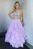 Anneprom Two Piece Halter Floor-Length Organza Evening Dress With Appliques APP0268