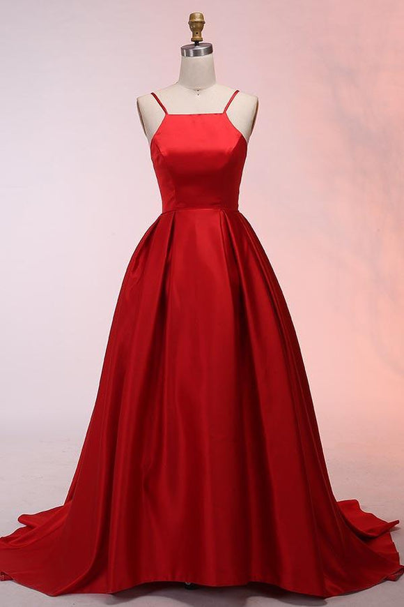 Anneprom A-Line Spaghetti Straps Sweep Train Red Satin Prom Dress APP0269