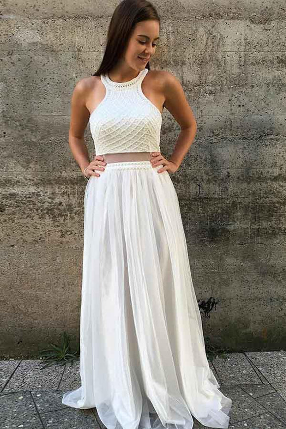 Anneprom A-Line Round Neck Open Back White Prom/Party Dress With Beading  APP0271