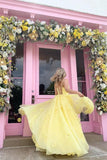 Anneprom Straps Tulle Bodice 3D Flowers With Back Lace Up Yellow Long Prom Dress APP0291