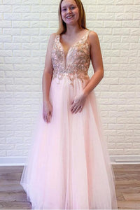 Anneprom A-Line Pink Tulle V-Neck Backless Beading Crystal Prom/Formal Dress APP0294