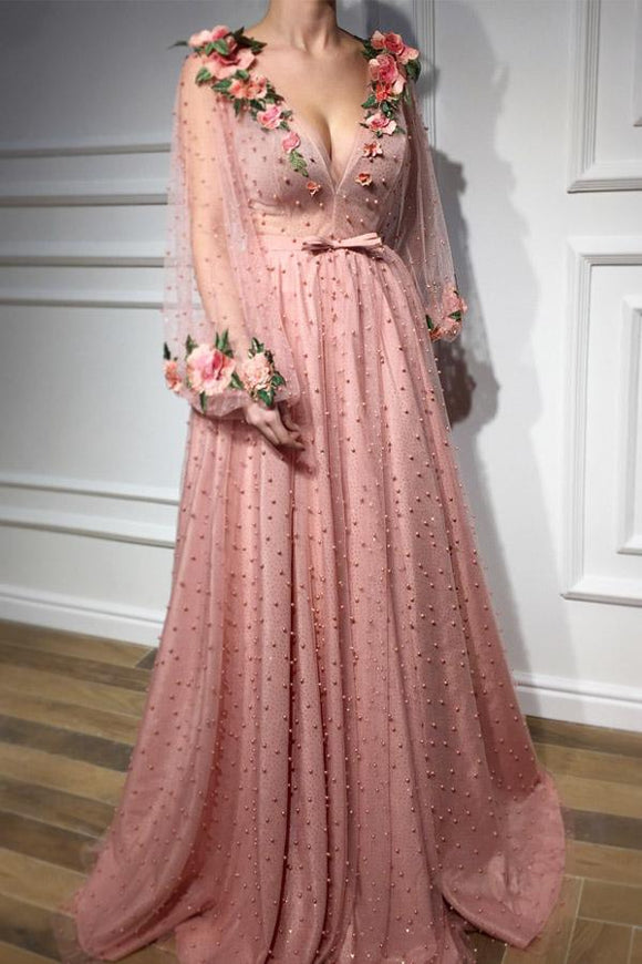 Anneprom Long Sleeves V Neck 3D Flowers Pink Prom Dresses Formal Dresses APP0298