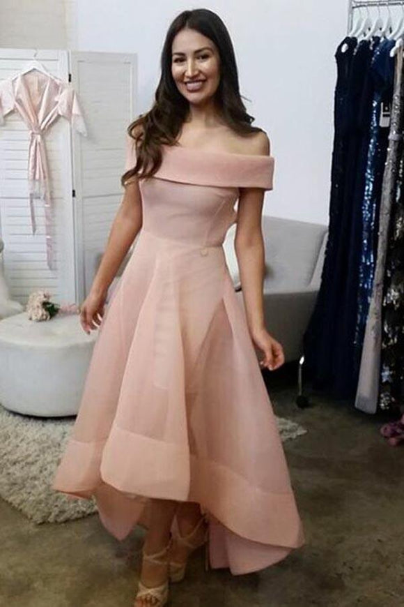 Anneprom Off-The-Shoulder High Low Sleeveles Organza Homecoming Dress APP0308