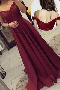 Anneprom Off-The-Shoulder Long Burgundy Prom Dresses Party Evening Gowns APP0313