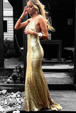 Anneprom Mermaid V-Neck Backless Gold Sequined Prom Dress With Appliques APP0315
