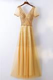 Anneprom A-Line Bling Bling Sparkly Gold Formal Prom Dress With Sleeves APP0316