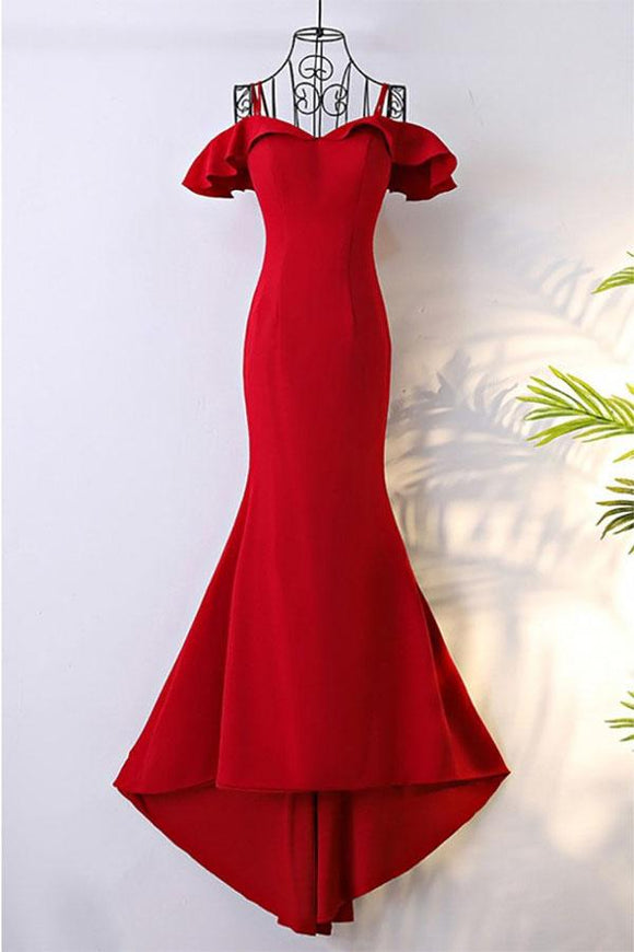 Anneprom Off Shoulder Classy Long Red Mermaid Prom Dress With Train APP0323