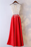 Anneprom White And Red Lace Long Formal/Prom Dress For Women APP0324