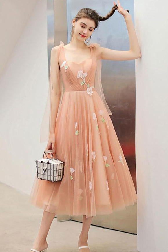 Anneprom Tea Length A-line Cute Prom Dress Sweet 16 Beautiful Long Formal Dress APP0330
