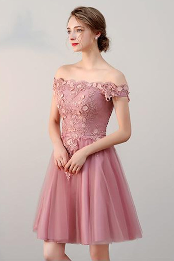 Anneprom Chic A-line Off-the-shoulder Tulle Pink Charming Short Prom Dress Homecoming Dress APP0333